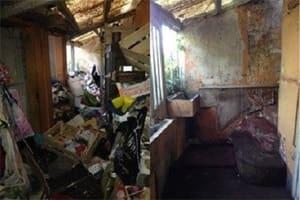 Maison rendue insalubre par une personne souffrant du syndrome de Diogène
